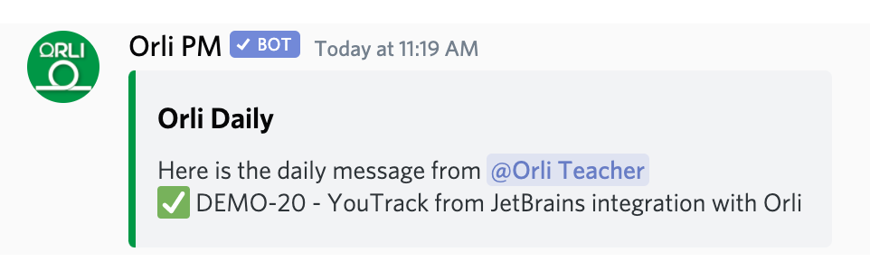 Discord and Youtrack with Orli Scrum Bot for Teamwork, standup meetings