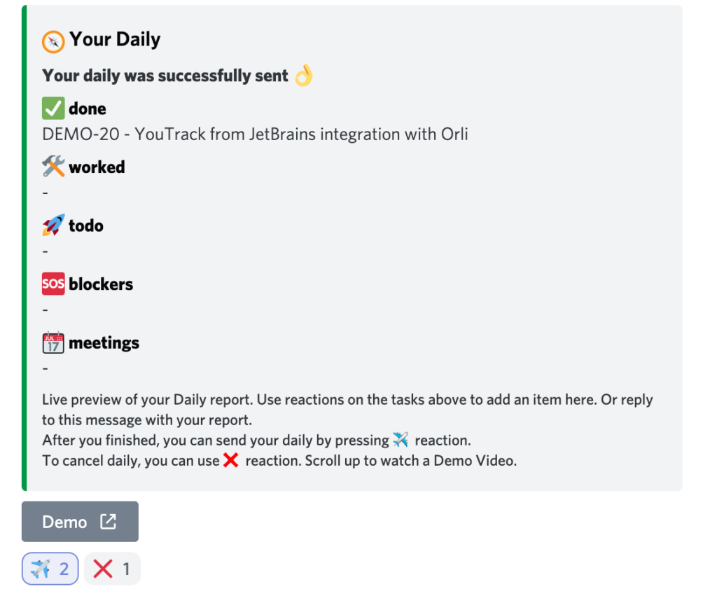 Discord Youtrack with Orli Scrum Bot for Teamwork, standup meetings